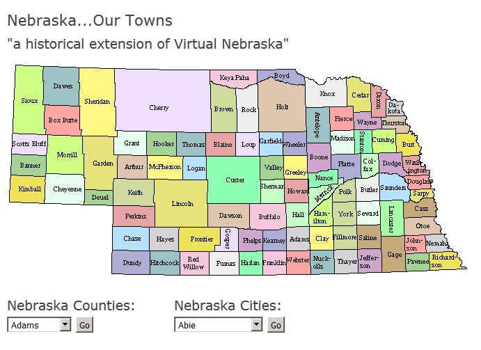 screenshot of Historical Nebraska tool
