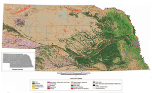 2005 Land use patterns from Landsat 5 images and Nebraska Natural Resource Districts data.
