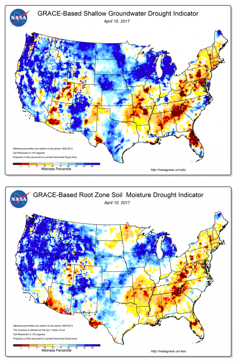 GRACE shallow groundwater (top) and root-zone soil moisture (bottom) indicators depicting drought conditions in parts of the southeastern U.S. in April 2017.