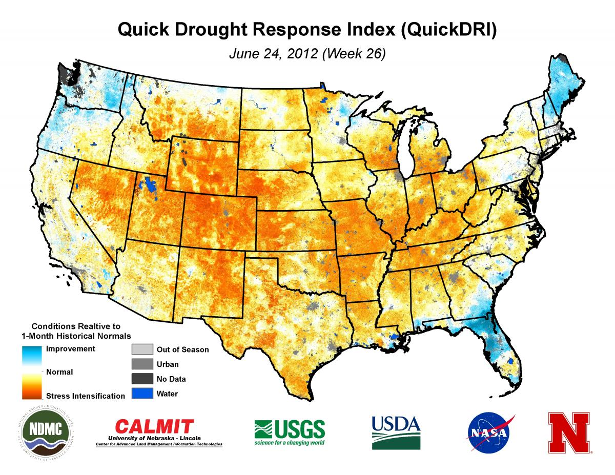 1-km QuickDRI map showing the intense short-term drought conditions across much of the United States as the severe to extreme 2012 drought event emerged.