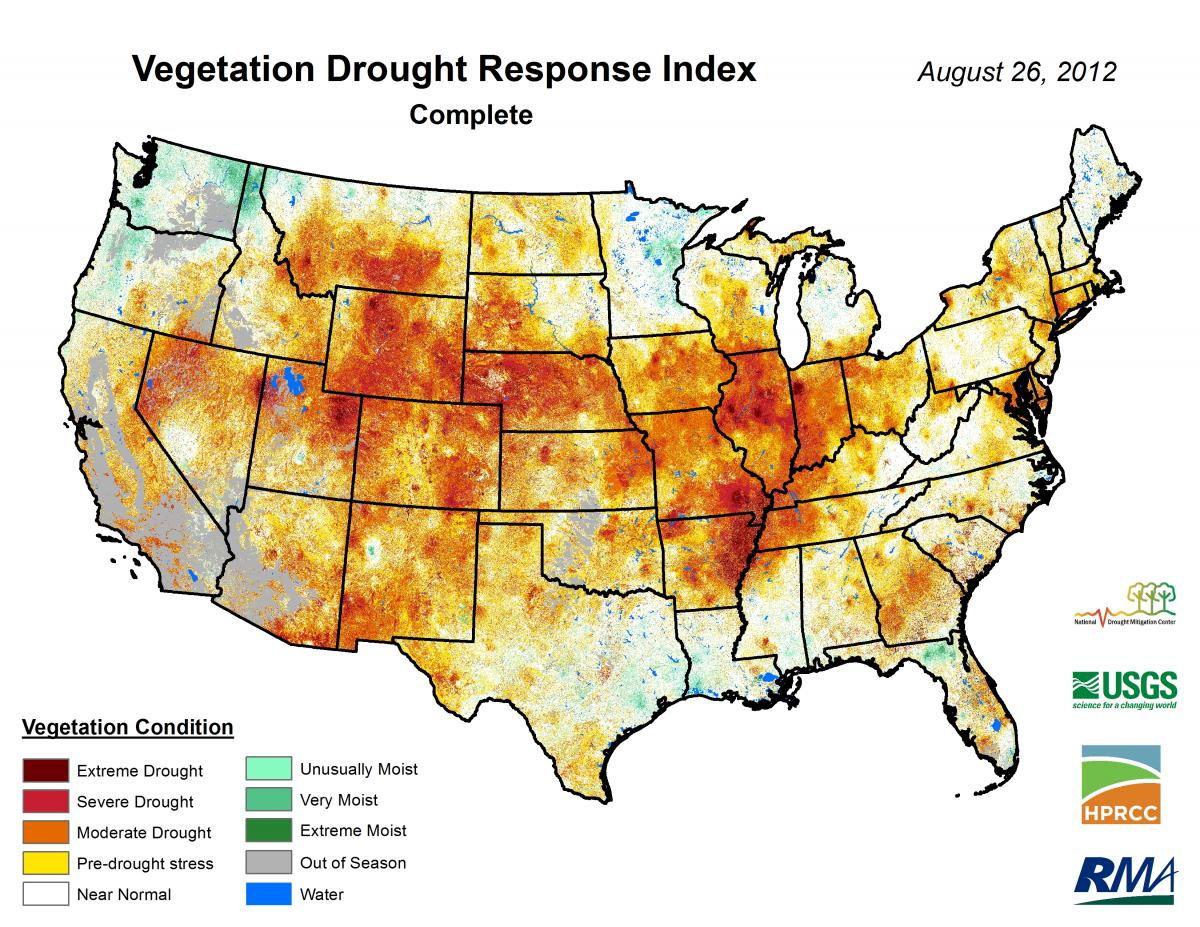 1-km VegDRI map showing the severe to extreme drought conditions that persisted across most of the central U.S. during the summer of 2012.