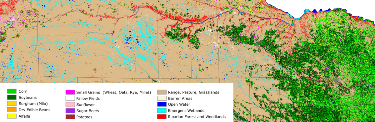 Inset of land use patterns map prepared by CALMIT for the State of Nebraska Department of Natural Resources