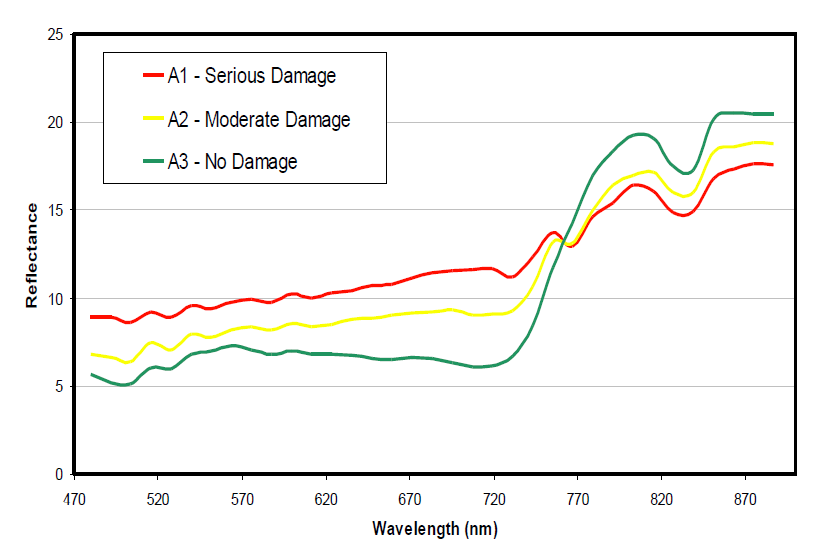 Spectral profiles of WCM damage