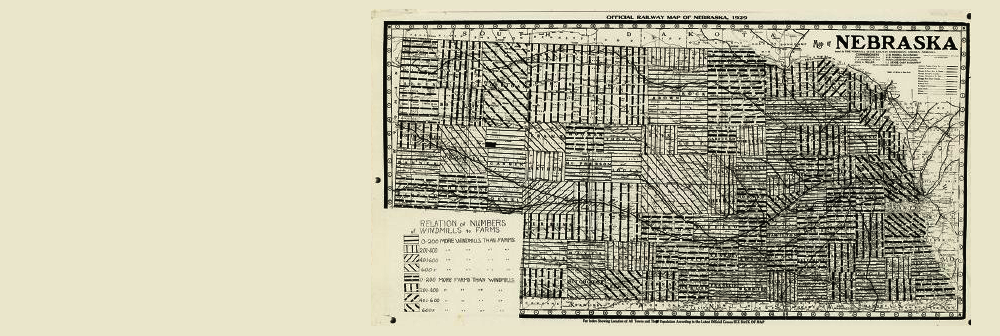 Early geographical information document by George Condra.  A map of Nebraska showing the relation of numbers of windmills to farms.